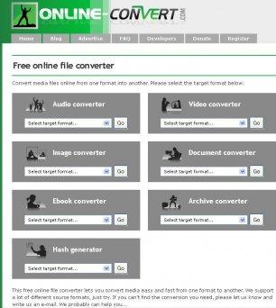Главная страница Online Convert