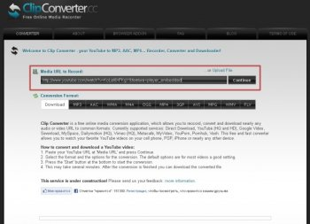 Онлайн сервис Clip Converter