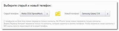 Выбор телефонов в сервисе Яндекс