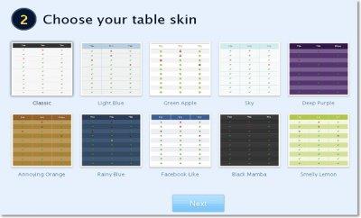 Выбор внешнего вида таблицы