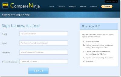 Регистрация в сервисе Compare Ninja