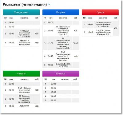 Публикация расписание уроков/занятий