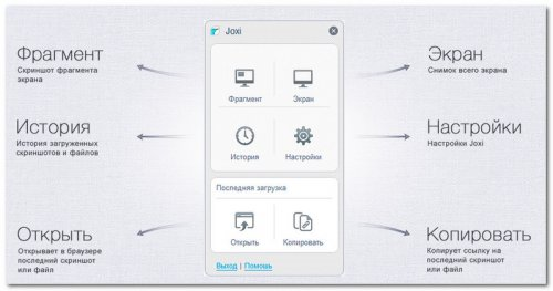 Специальное меню приложения Joxi