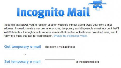 Временный электронный ящик Incognito Mail