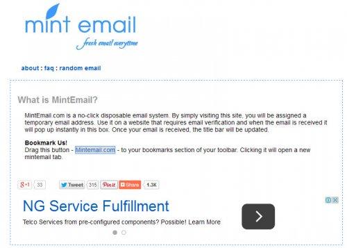 Одноразовая почта - MintEmail