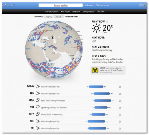 Онлайн сервис Forecast.io