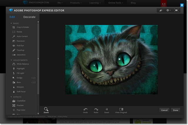 Онлайн сервис photoshop express